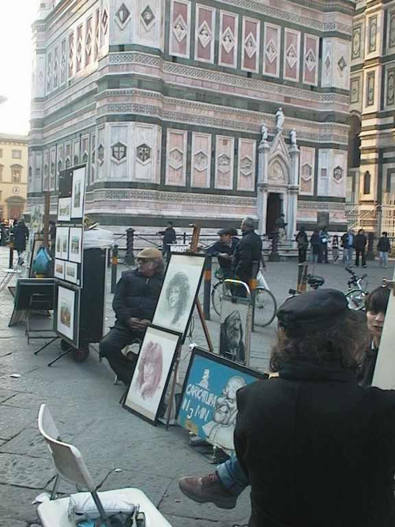 Arcképrajzoló a főtéren. Firenze, 2007
