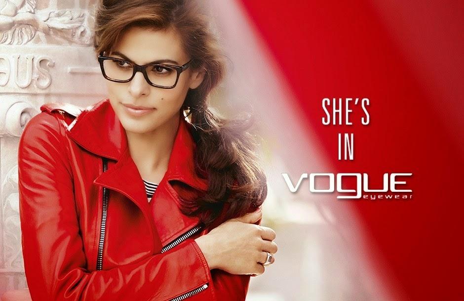 Eva Mendes Vogue szemüvegreklám 2014. tél