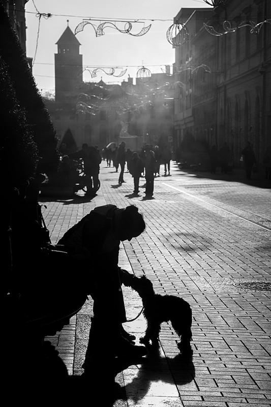Feketén, fehérben játszik a téli fény. Simító kézzel díszíti a város utcáit, s árnyat aggat mindenre, ami útját állja: egyedül, párban, sokadalomban.