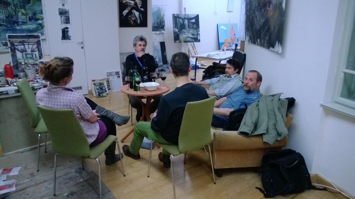 Aranyi Sándor, Gál Lehel és Szabó Tamás mesterek a műteremben.