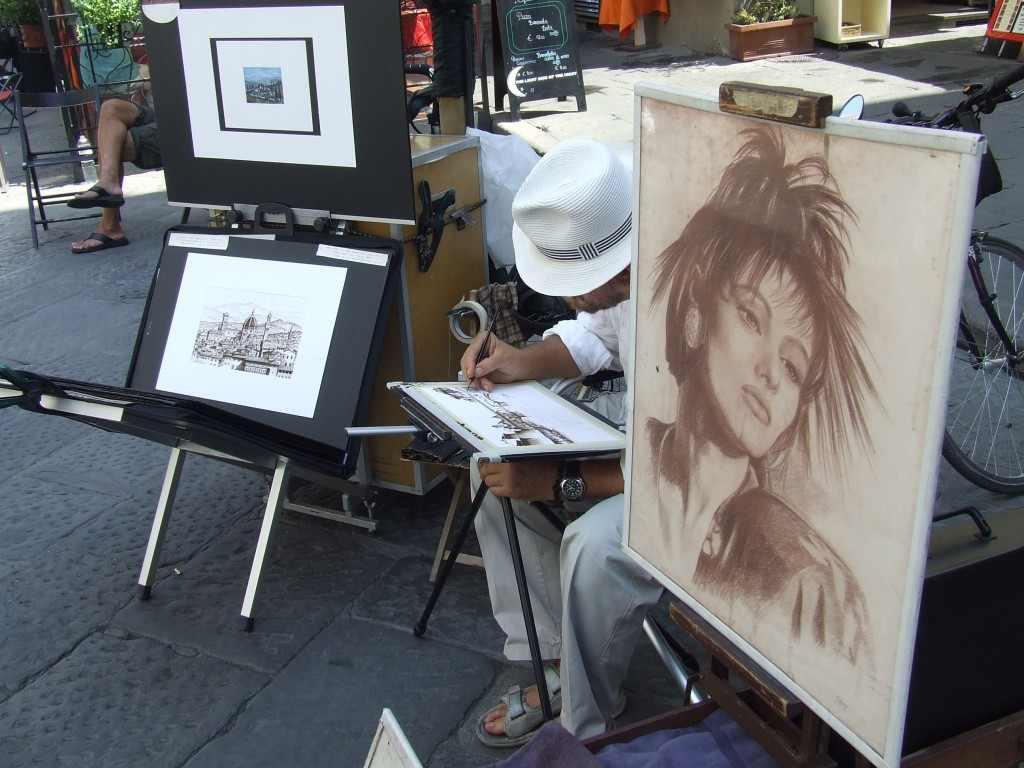 Arcképrajzoló és tájképfestő. Firenze, 2008