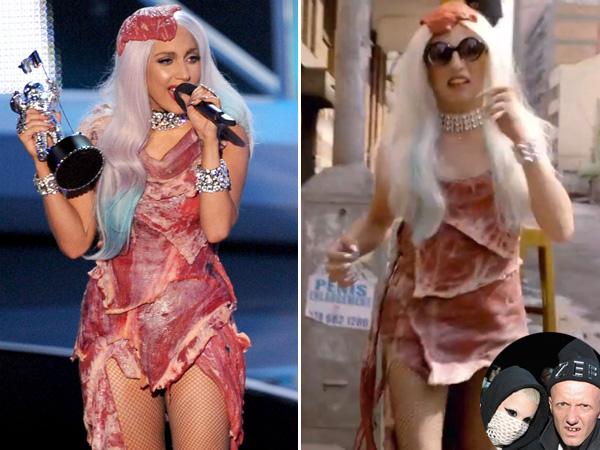 Lady Gaga és a klipben őt megformáló férfi