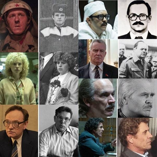Megdöbbentő hasonlóság. Balra a színészek, jobbra az általuk alakított valós személyek láthatók